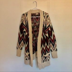 Patterned open faced cardigan with pockets